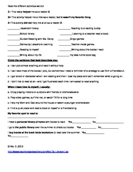Reading Survey- (Spring--free)