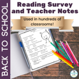 Back to School: Reading Interest Survey and Teacher Notesheet