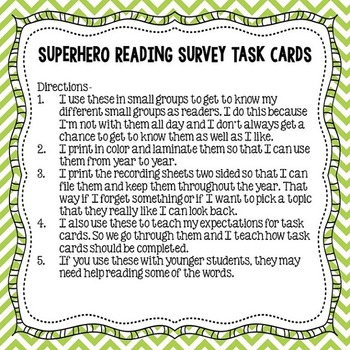 Reading Survey Task Cards