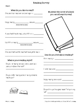 Reading Survey for Middle Schoolers