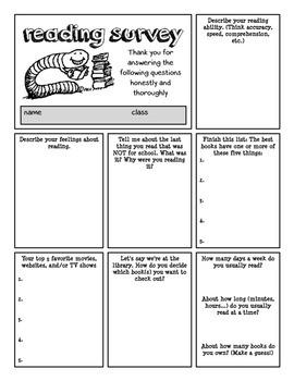 Reading Survey for Upper Grades