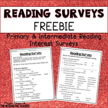 Reading Interest Surveys for Primary & Intermediate