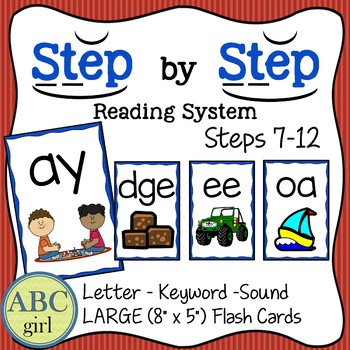 Reading System Steps 7-12 Letter-Keyword-Sound Large Flash Cards