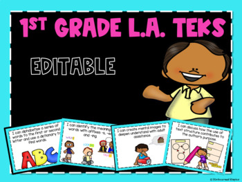 Reading TEKS Posters for First Grade *EDITABLE*