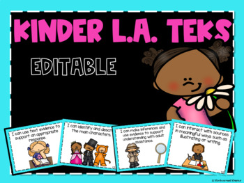 Reading TEKs Posters for Kindergarten