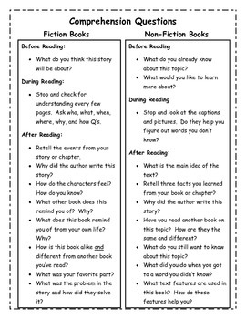 Reading Take Home Bag Directions and Comprehension Questions