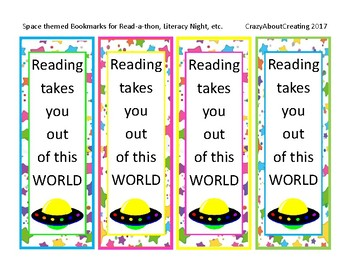 Reading Takes You Out of this World Bookmarks
