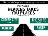 Reading Takes You Places V2: Green Sign Edition (Printable Wall Decor)
