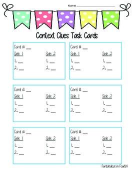 Reading Task Card Response Sheets