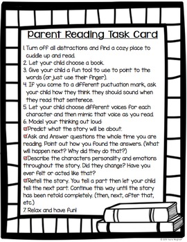 Reading Task Card for Parents