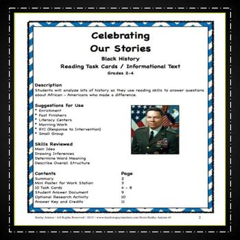 Black History Informational Text Task Cards