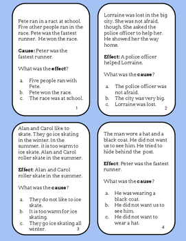 Reading Task Cards- Cause and Effect