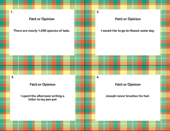 Reading Task  Cards- Fact or Opinion?  Grades 2-3