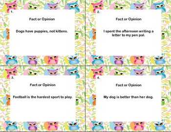 Reading Task  Cards- Fact or Opinion?  Grades 2-3 Owl Theme
