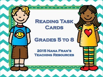 Reading Task Cards For Any Novel Grades 5 to 8