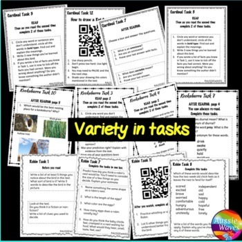 READING Non-Fiction Passage Task Cards BIRD BUNDLE Kookaburra Red Cardinal Robin