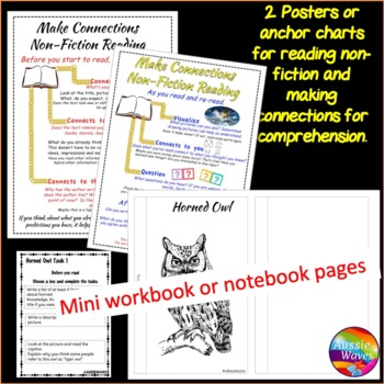 READING Non-Fiction Passage and Comprehension Task Cards BIRDS HORNED OWL