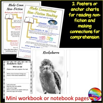 Non-Fiction READING Passages and Comprehension Task Cards BIRDS KOOKABURRA