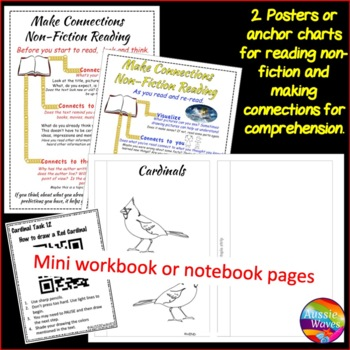 Non-Fiction Reading Engaging Passage and Task Cards Reading  BIRDS CARDINALS