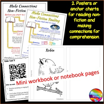 NON-FICTION READING Passage and Task Cards for Comprehension  BIRDS ROBINS