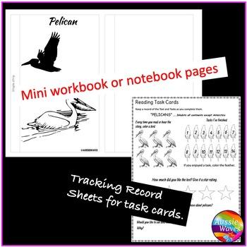 Literacy Center Activity Non-Fiction Passages & Task Cards Reading BIRDS PELICAN