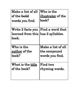 Reading Task Cards Set 1