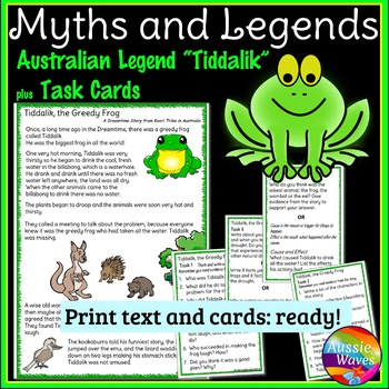 Myth Legend from Australia Text & Task Cards Make Connections & Close Questions