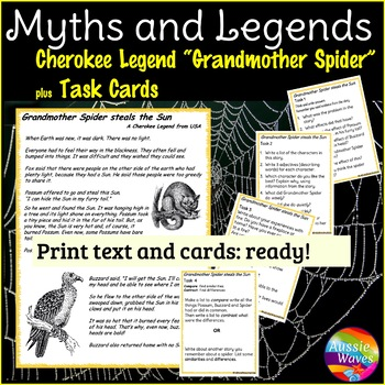 "A Cherokee Myth Legend ""Grandmother Spider"" Story & Task Cards Close Questions"