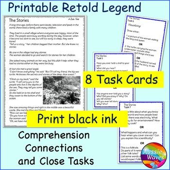 Myth Legend from Zulu Culture Text Task Cards Make Connections & Close Questions