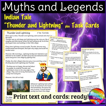Myth or Legend from India Story & Task Cards Make Connections & Close Questions
