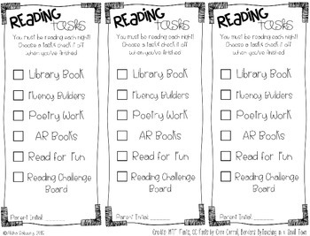 Reading Task Checklists