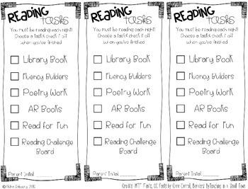 Reading Task Checklists