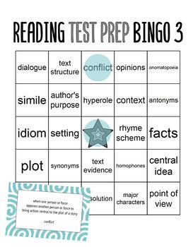 Reading Test Prep 3rd Grade Vocabulary Bingo
