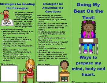 Reading Test Prep Brochure Foldable--Low-Key Review of Basic Testing Advice