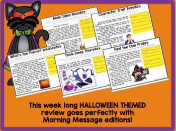 READING TEST PREP: Morning Message Halloween Edition