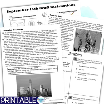 September 11th Reading Comprehension - Informational Text * Questions * foldable