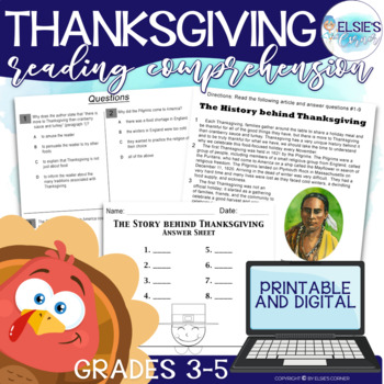 Thanksgiving Reading Comprehension - Passage, Assessment, and Craft.
