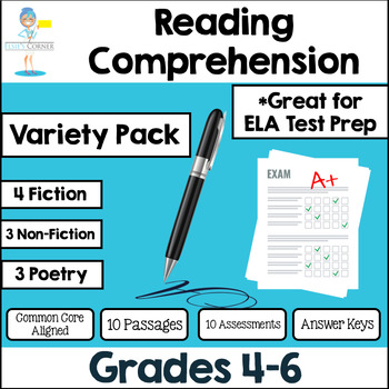 Reading Test Prep Assessments  Non-fiction*Fiction*Poetry*Essay Writing