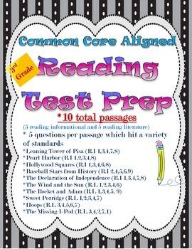 Reading Test Prep Packet-Common Core Aligned Grade 3