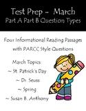 Reading Test Prep Part A Part B Questions March Informational Passages