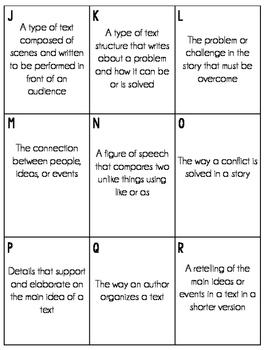 Reading Test Prep (Vocabulary Bingo)