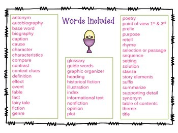 Reading Test Prep Vocabulary Game