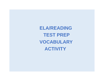 Reading Test Prep Vocabulary Matching Activity