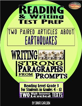"2 Articles Paired ""Earthquake!""~Reading & Writing Test Prep"