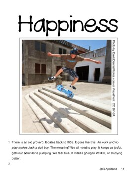 "Reading & Writing Test Prep & Guide ~1 Article ""Do What Makes You Happy""~"