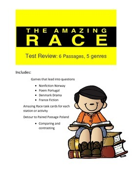 Reading Test Review Game- Amazing Race Theme 6 passages in different genres