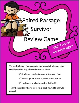 Reading Test Review Game Paired Passages (3 sets): Survivor Theme