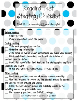 Reading Test Strategies Checklist {Great for Standardized Test Prep!}