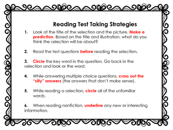 Freebie Reading Test Taking Strategies Poster