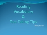 Reading Test Vocabulary and Test Taking Tips